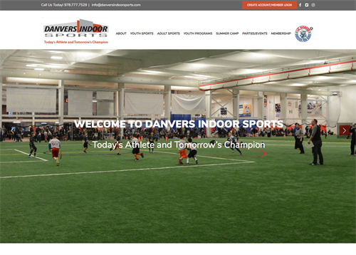 Website development, design for Danvers Indoor Sports arena. Website, photography, video production