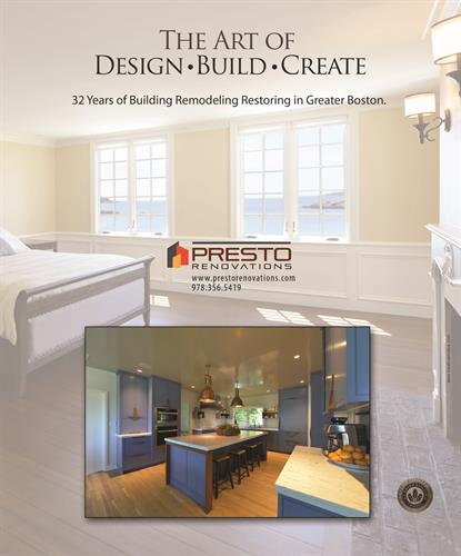 Full page ad for PRESTO Renovations, Building company in Marblehead MA