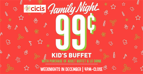 Kids Eat for Just .99 at Cicis - Clearwater. Select Days and Times.