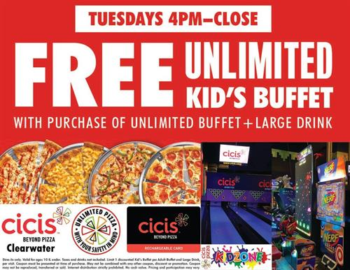 Kids eat FREE Tuesday Nights at Cicis Clearwater.