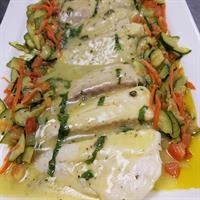 Lemon Sauce Oven BAked Grouper w/Sauteed veggies