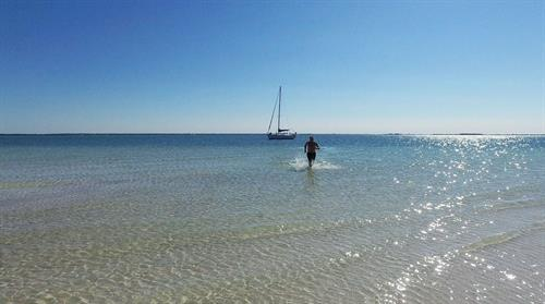 Nothing like running in this beautiful tropical water in Three Rookers island.