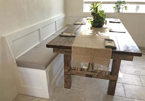 banquette and dining table