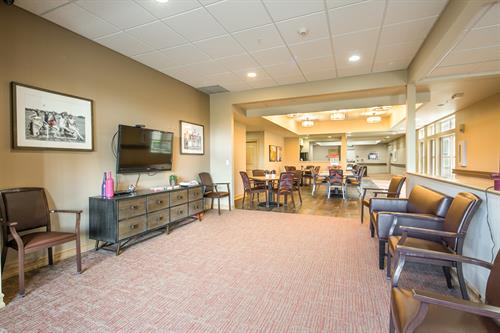 One of the community's common area living rooms