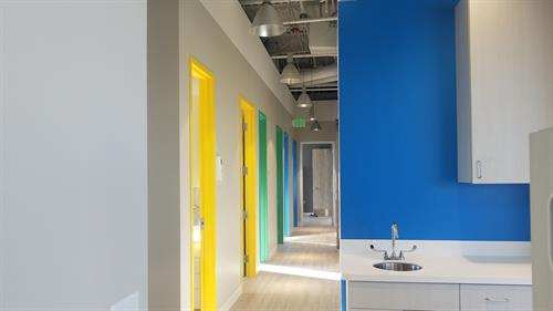 Our office has 3 color coded rooms. Yellow, green, and blue!