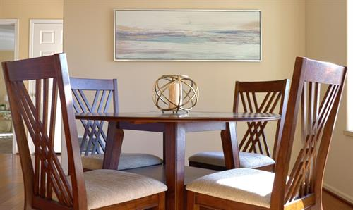 Vashon Maury Island dining room staged by 1st Impressions By Design