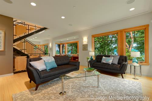 Contemporary furnishings help sell a custom northwest home on Vashon Island.