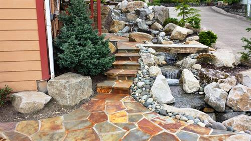 Stone Patio & Waterfall
