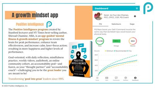 The 8-week PQ Mental Fitness / Growth Mindset Program includes a daily app to guide you