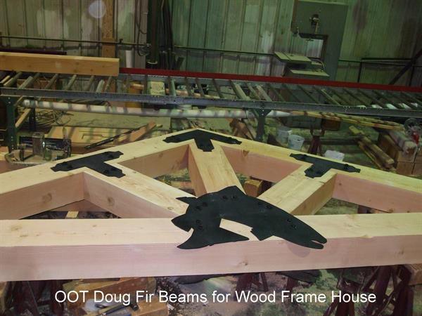Douglas Fir beams used for wood frame house