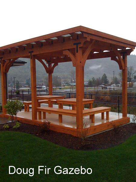 Douglas Fir Gazebo made with our structural timbers