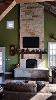 Limestone fireplace in the Elizabeth barn home