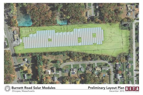 Visualization of the Burnett Road Solar Facility, designed by BETA on a former landfill.