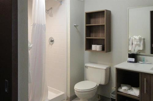 Mainstay King Suite Bathroom with walk in shower