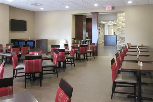 Breakfast area, where you will enjoy a full hot breakfast buffet.