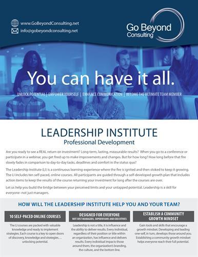 Leadership Institute Flyer, side 1