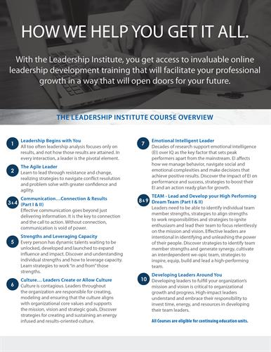 Leadership Institute Flyer, side 2