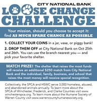 City National Bank Loose Change Challenge to benefit local animal shelters
