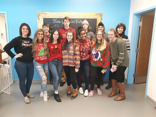 Sherando High School Marketing Class markets SPCA Ugly Sweater Adoption Event