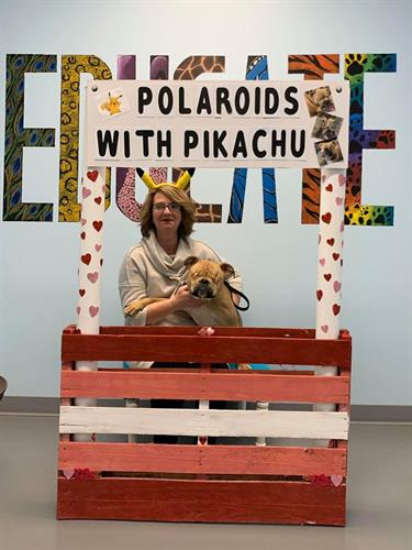 Pictures with Pickachu at the SPCA Birthday PAWty