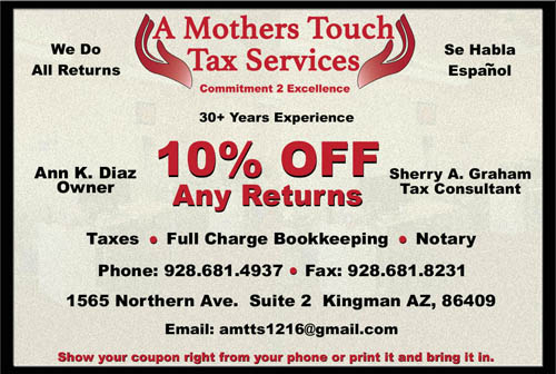 Coupon for A Mothers Touch Tax Services