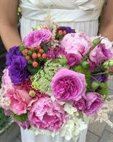Custom hand tied bridal bouquet, with garden roses, peonies, astilbe and purple lizanthus