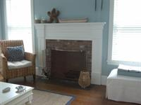 A traditional fireplace mantel.