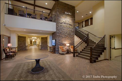 The Summit at Sunland Springs Assisted Living Lobby and Staircase to the Second Level and Theater.