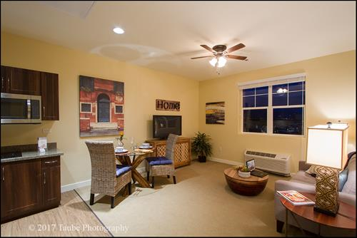 Our apartments have designer finishes with granite counters, full size refrigerators, ceiling fans, washer/ dryers, full size showers. Utilities included, pet friendly, 24 hour call system, 24 hour care staff, medication management and licensed nurse oversight.