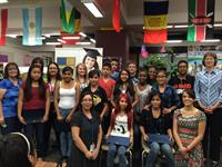 Students and new mentors at Rhodes Jr High duringr Induction Night into College Bound AZ