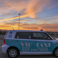 VIP Taxi with a Mesa sunset over the Loop 202.
