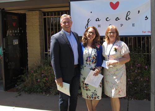 City of Mesa Mayor John Giles with our founders, Jo Jones and Leslie Blowers
