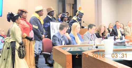SB1179 Memorial: Buffalo Soldiers Senate Cmte. Hearing -Cmdr. Fred Marable (speaking) and the Buffalo Soldiers of the Arizona Territory - Ladies and Gentlemen of the Regiment, Mesa (February 14, 2018 - PASSED)