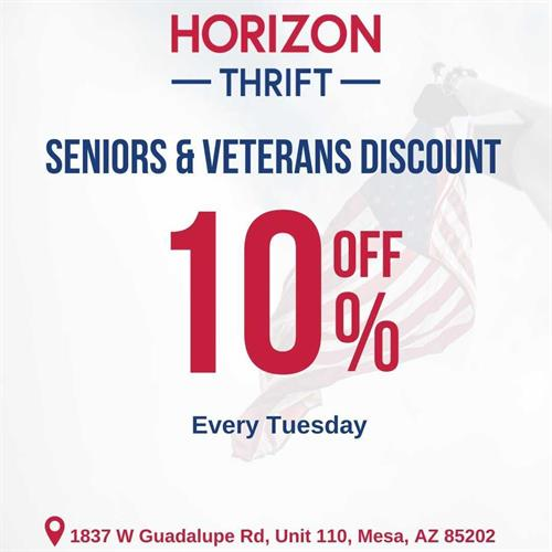 Seniors and Veterans get 10% off on Tuesday!