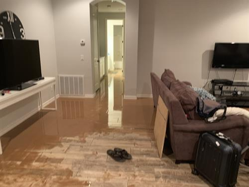 Mud filled basement from rainstorm.