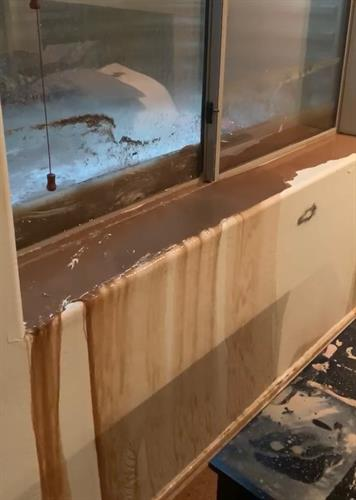 Water and mud leaking through basement window into home.