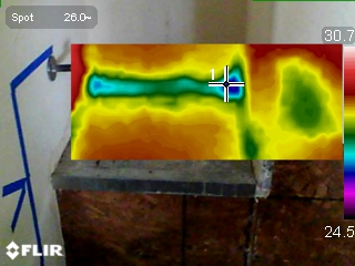 Thermal imaging picking up moisture.