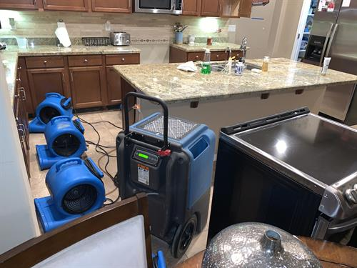 Placed equipment in water damage home.