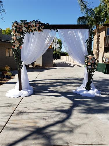 Wooden Arch with blush silk florals