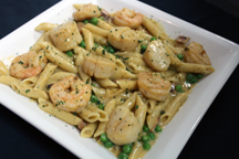 Blackened Scallops and Shrimp Carbonara