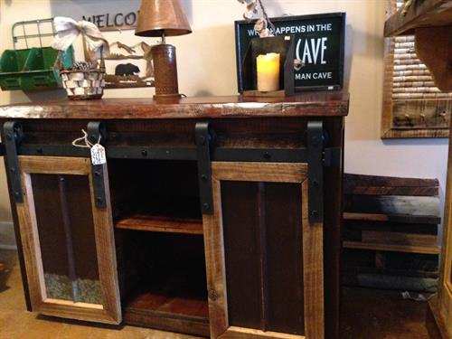 Barnwood Buffet/Entertainment Cabinet with barn sliding doors