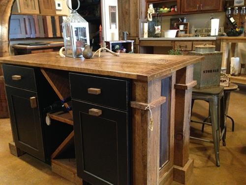 Barnwood Island With Wine Rack & Tin Sides