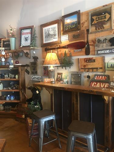 Barnwood Bar With Rusty 5VMetal Inserts