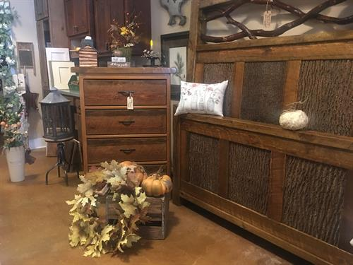 Locally Handcrafted Barnwood W/Bark Inserts Bed Frames & Chest of Drawers