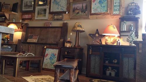 Locally Handcrafted Barnwood Bed, Sliding Door Entertainment Cabinet & End Tables