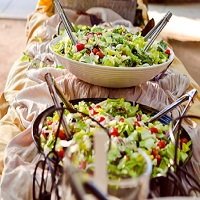"Gorgeous salad buffet at a ""Picnic themed"" wedding"