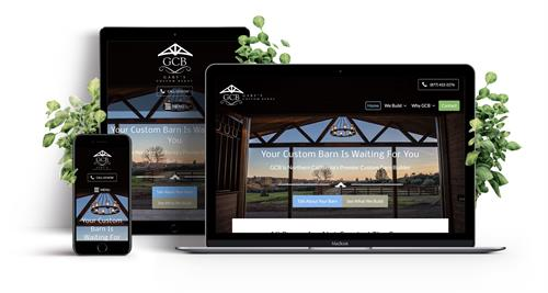 Custom Sacramento web design responsive website for local custom barn builder in Cool.