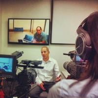 C Sharp Video Productions LLC interview testimonials on-location videography remote interview backdrop Silicon Valley
