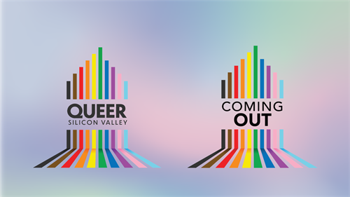 A digital banner for Queer Silicon Valley and Coming Out