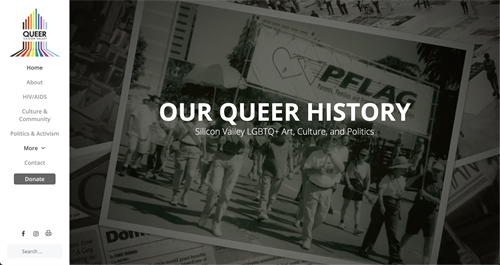 The homepage for Queer Silicon Valley